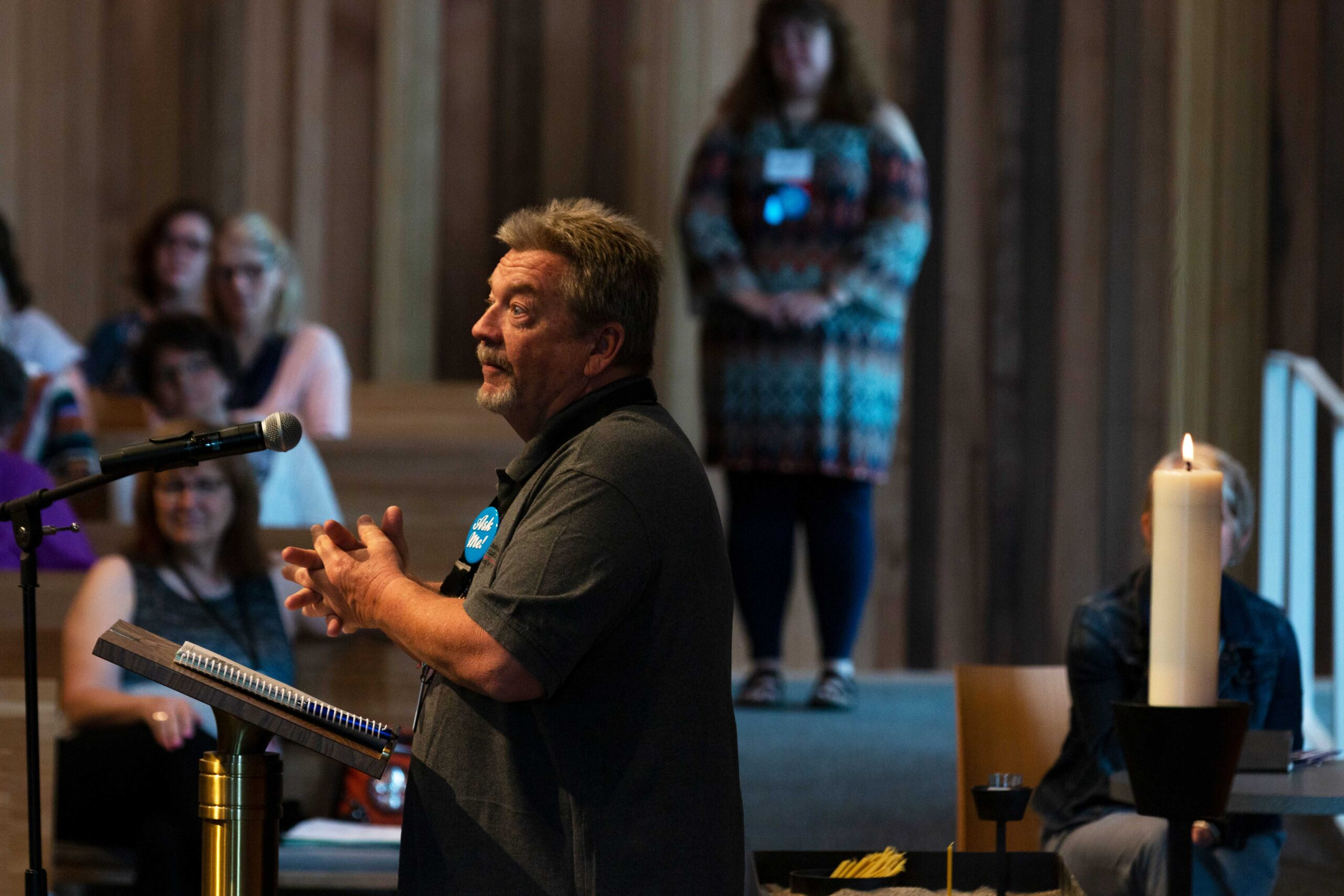 Person speaks at Joint Annual Meeting 2019