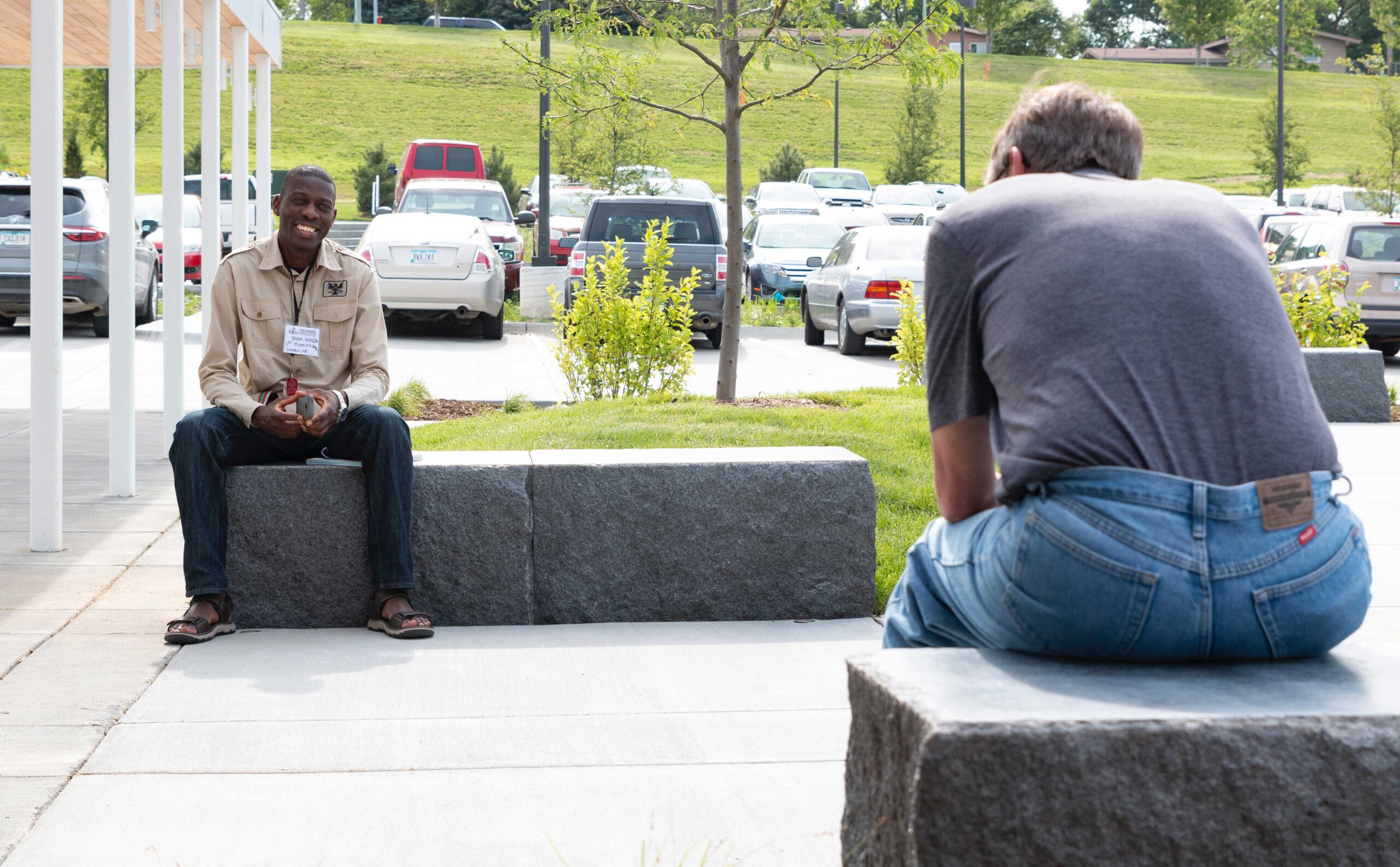 Two people having a discussion outside at Joint Annual Meeting 2019