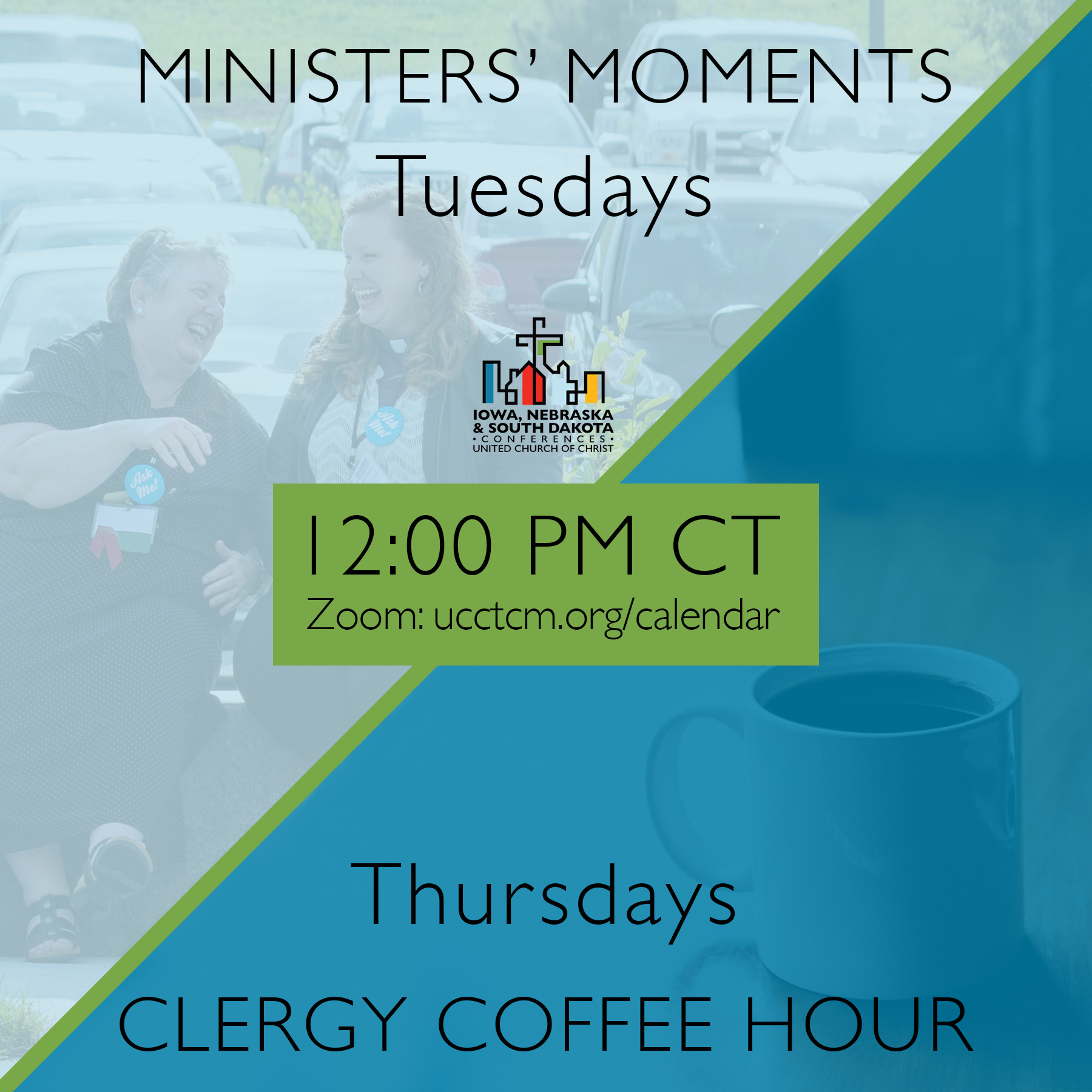 Clergy leaders in our Conferences can meet for online discussion with our ministerial staff at 12:00pm CT on Tuesdays and for fellowship/coffee hour on Thursdays/ Visit www.ucctcm.org/calendar for the Zoom link.
