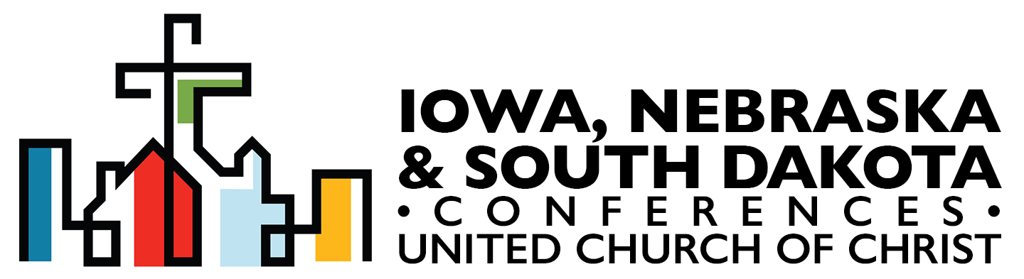 Logo for the IA, NE, and SD Conference - collection of colorful buildings with a cross in the middle